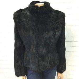 Vintage Black Rabbit Fur Coat Small/Medium EUC